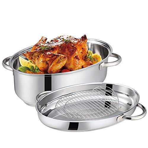 Mr Rudolf 15 inch Roasting Pan with Lid and Rack,18/10 Stainless Steel Oval Medium Roaster for Easy to Clean,Dishwasher Safe,8.5...