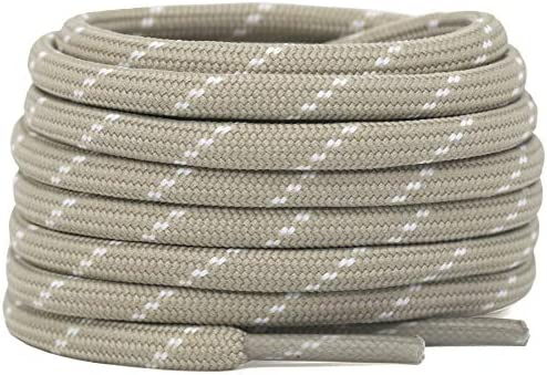 DELELE 2 Pair Thick Round Climbing Shoelaces Beige White Dots Hiking Shoe Laces Boot Laces 45 product image