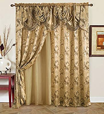 "Golden Linen Jana Collection 2pc Curtain Set with Attached Valance and Backing 55""X84"" Each"