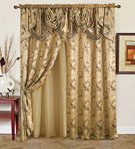 """Golden Rugs Jacquard Luxury Curtain Window Panel Set Curtain with Attached Valance and Backing Bedroom Living Room Dining 112""""X84"""" Jana Collection (Taupe)"""