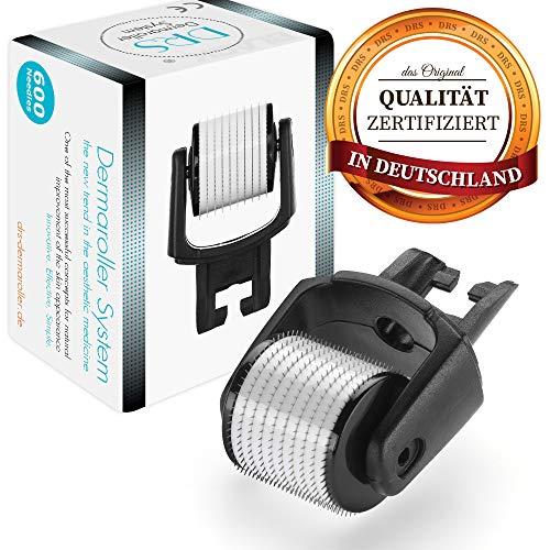DRS Black Ersatzkopf mit 600 Nadeln für alle DRS Dermaroller mit wechselbarem Aufsatz - das Original, Nadeln aus Edelstahl, Gebrauchsanweisung auf Deutsch und Englisch, Nadellänge:0.25mm