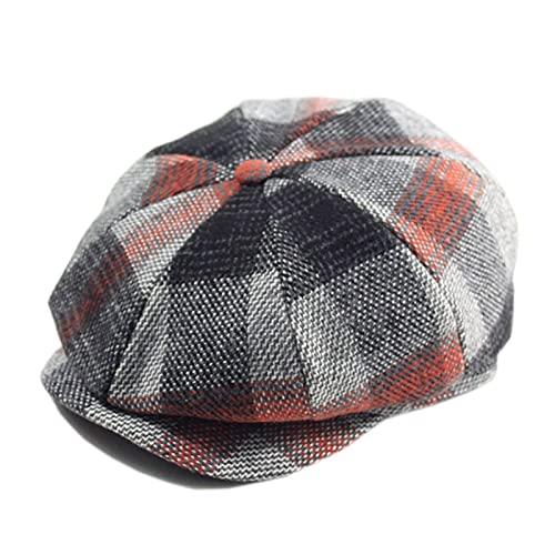 Fuxwlgs Berets Man Large Size Ivy Hat Dad Fitted Painter Cap Men Felt Octagonal Hat (Color : Plaid red, Hat Size : L 59-60cm)