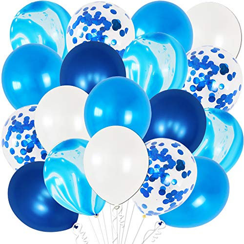 Blue and White Balloons Party Decorations - Pack of 50 | Metallic Blue, Marble Blue, Light Blue Balloons | Shades of Blue Balloons for Birthday Party Decorations | Navy Blue Marble Balloons Decoration