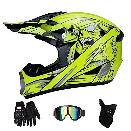 Hombres Casco De Motocross, Motocross Casco Temporada 4 Completa Casco Carretera con Guantes Universal Gafas Adecuados para Adultos Y Niños,S