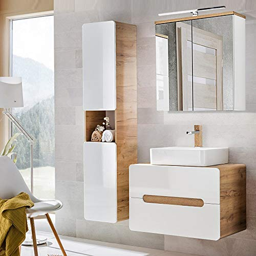 Lomadox Badezimmermöbel Set mit Keramik-Waschtisch mit 80cm Unterschrank, Hochglanz weiß mit Wotaneiche, Hochschrank und LED-Spiegelschrank