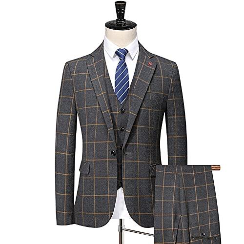 ZZABC Primavera otoño nuevos trajes de moda/hombre casual de negocios plaid de 3 piezas juego de chaqueta pantalones (Color : Lattice, Size : M for 52-57kg)