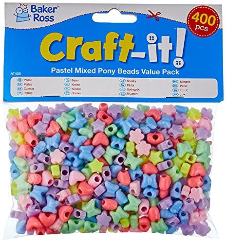 Perline Pastello Confezione Risparmio Baker Ross (confezione da 400): ideale per gioielli, braccialetti, collane e portachiavi, arte e artigianato per bambini, regali e tanto altro.