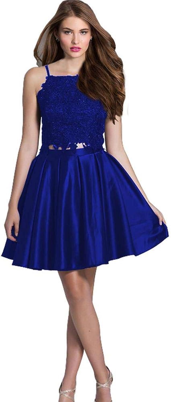EverBeauty Juniors Lace Top 2 Piece Homecoming Dress 2019 Short Sleeveless Satin Prom Dress