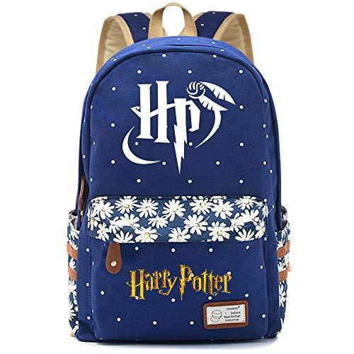 NYLY Mochila Escolar de Flores para niñas Mochilas Informales de Moda/de Compras/de Viaje, Mochila de la Serie Harry Potter (Estilo E) L Azul Oscuro