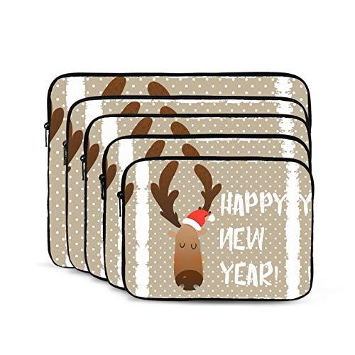 KUUDJIT Christmas Deer Happy Face Cartoon Funny Character 12/13/15/17 Inch Laptop Sleeve Bag for MacBook Air 13 15 MacBook Pro Portable Zipper Laptop Bag Tablet Bag,Diving Fabric,Waterproof