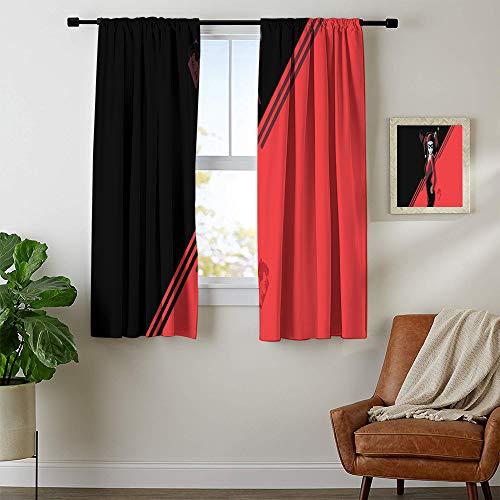 Cortinas transparentes para habitación de los niños, diseño de Harley Quinn, de tela resistente, 76 pulgadas de ancho x 45 pulgadas de largo, poliéster, Patrón_03, 2 Panel x W72