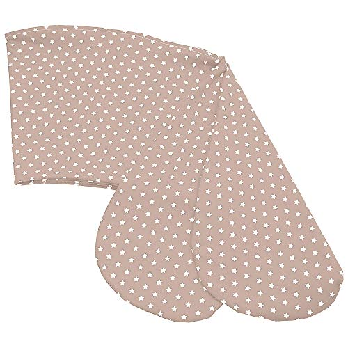 Sugarapple Ersatz Stillkissenbezug 180 cm Länge, Bezug für alle Stillkissen 180cm aus 100{e98b2b84eb6578acc1980998c613062a0d84ee487ba88a1692961f23d9398d77} Baumwolle mit Reißverschluss, Sterne beige