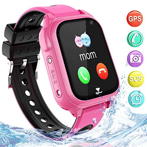 Wasserdichtes GPS Smartwatch für Kinder, Intelligentes Uhrentelefon Kind Geschenk Zwei Wege Gespräch mit GPS Locator Voice-Chat Kamera SOS Mathe-Spiel Wecker Uhr für 3-15 Jahre alt Junge Mädchen,Pink