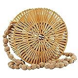 Tubayia Bolso de bambú para mujer, hecho a mano, redondo, para verano, playa, viajes, color Marrón, talla Small