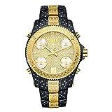 JBW Luxury Men's Jet Setter 2.34 Carat Diamond Wrist Watch with Stainless Steel Link Bracelet