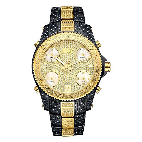 JBW Men's Luxury Jet Setter JB-6213 1.00 ctw Diamond Wrist Watch with Stainless Steel Link Bracelet