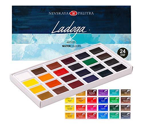 Künstler Aquarellfarbe Set von 24 Farben in Pfannen | Ideal für Kinder, Anfänger, Studenten und Enthusiasten | Russische Qualität und Traditionen von Ladoga