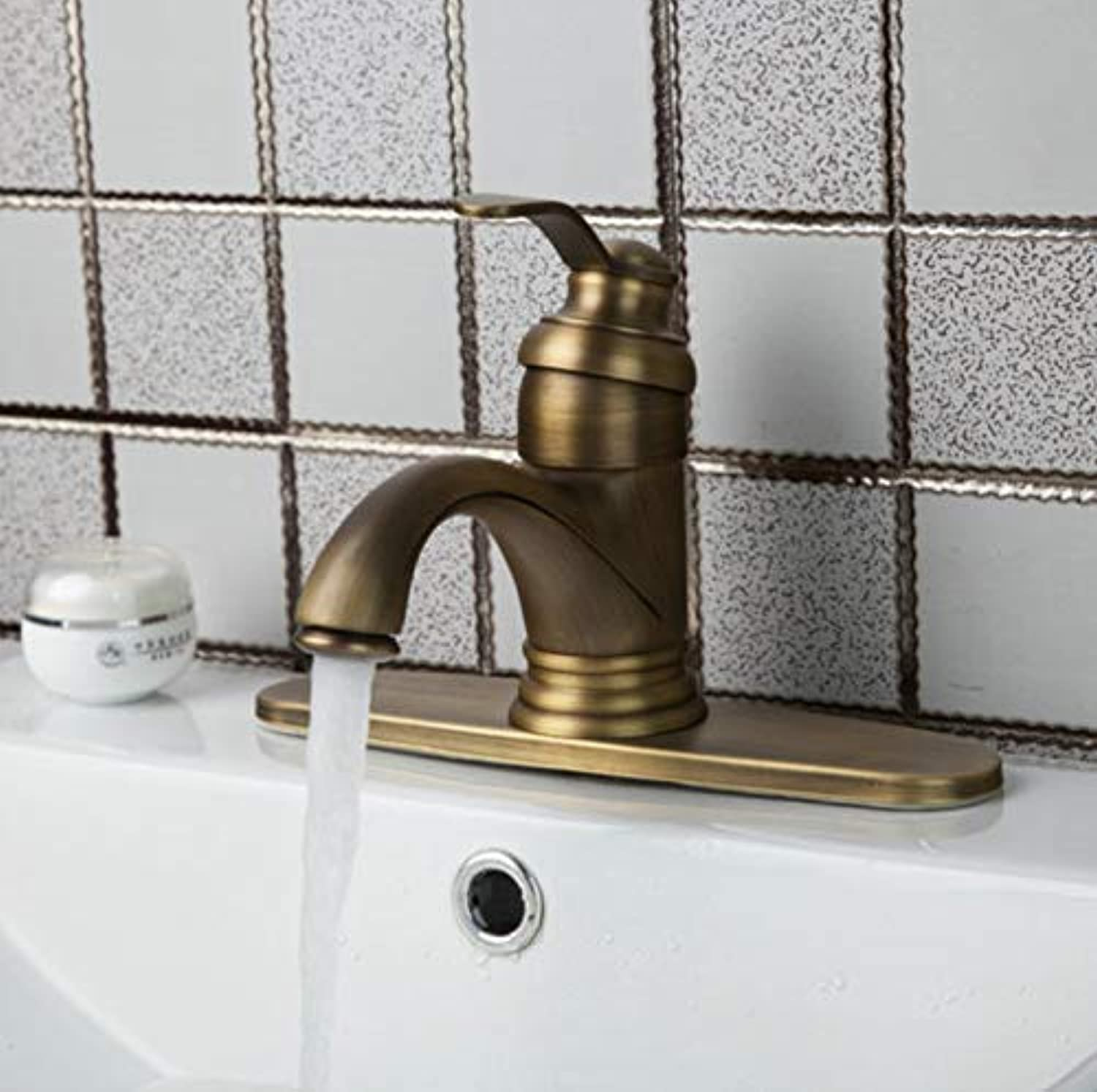 Oudan Chrome Vessel Basin Single Handle Waterfall Bathroom Antique Brass + Cover Plate 86535726 Deck Mounted Sink Faucets,Mixer Tap (color   -, Size   -)