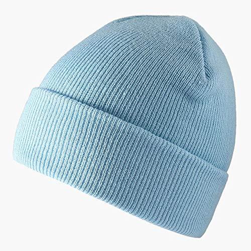 Gorros de Punto de Color sólido a la Moda, Gorros cálidos de Invierno para esquí, Gorros Multicolores para Hombres y Mujeres, Gorro elástico Suave, Gorro Deportivo-Sky Blue