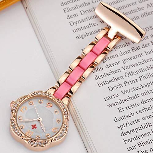 YUTRD ZCJUX Broche de paramédico, Reloj de Enfermera médica para médicos, Regalo para Mujeres, Reloj de Bolsillo de Acero Inoxidable con Clip, Colgante de Flor de Cristal