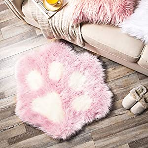 Ashler Soft Fluffy Faux Fur Area Rug Cat Paw Faux Sheepskin Fuzzy Kids Rug 2.8 X 3.2 Feet Pink Indoor Decorative Rugs