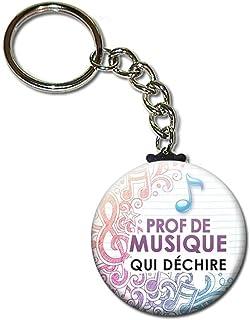 Prof de Musique qui Déchire Porte Clés Chaînette 3,8 centimètres Idée Cadeau Accessoire Professeur Enseignant Matière