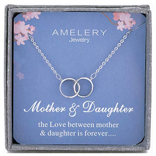 Amelery Mother Daughter Necklace Sterling Silver Two Interlocking Infinity Double 2 Circles CZ Crystal Pendants, Mothers Day Jewelry Birthday Gifts Mom for Women
