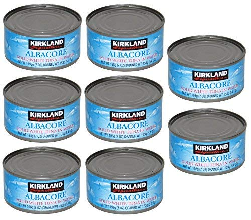Kirkland Albacore Solid White Tuna in Water - 8 Cans (Total Net Weight 3.5lbs) - PACK OF 2