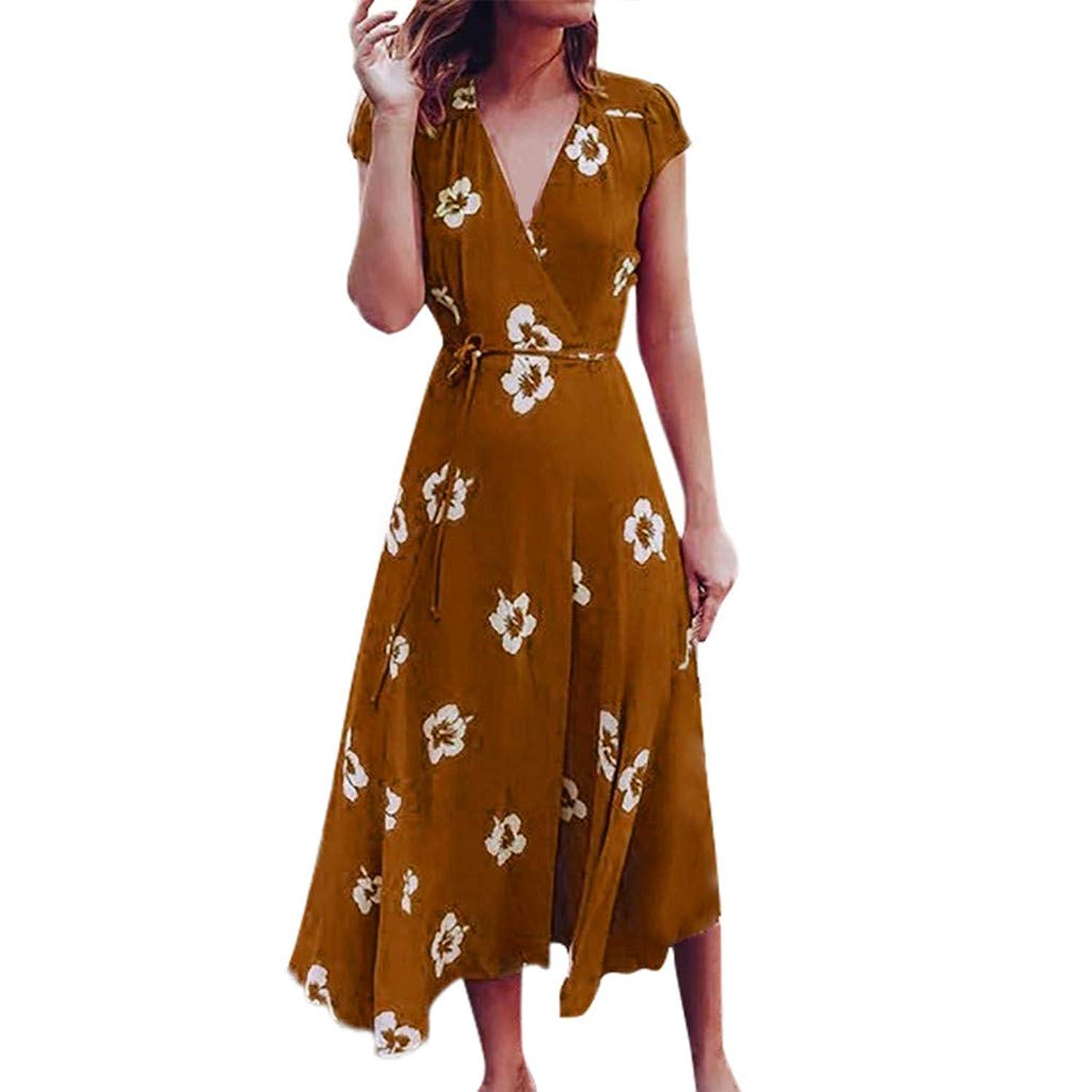 Emimarol Women's Short Sleeve Floral Print Dress Bandage Party Bohemian Long Maxi Dresses