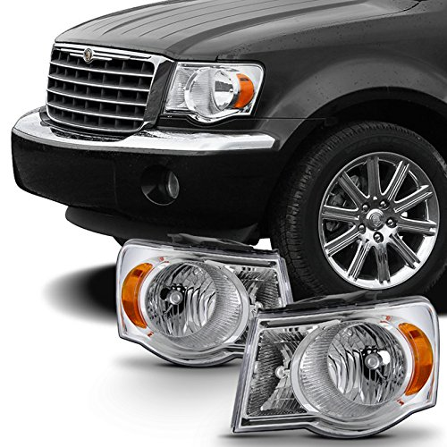 For 2007 2008 2009 Chrysler Aspen Crystal Clear Headlights Headlamps LH Left & RH Right Side Pair Set