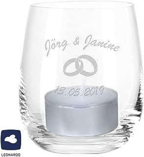 Leonardo Windlicht zur Hochzeit mit Ringen - personalisiert mit Namen & Datum, Windlicht mit Spruch, Liebe, Unendlichkeit, Liebe, Teelicht, Hochzeit, Ehe, Geschenk, Geschenkidee, Paar, Wedding