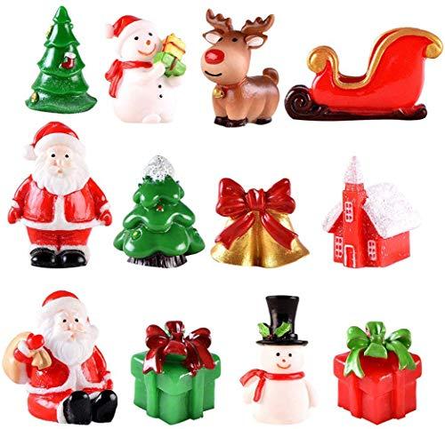 Mini Decorazione Natalizia Miniatura, 20 Pezzi Accessori Natalizi in Miniatura, Sonaglio, Albero di Natale, Pupazzo di Neve, Decorazioni di RegaloMicro Paesaggio Natalizio per Fai da Te