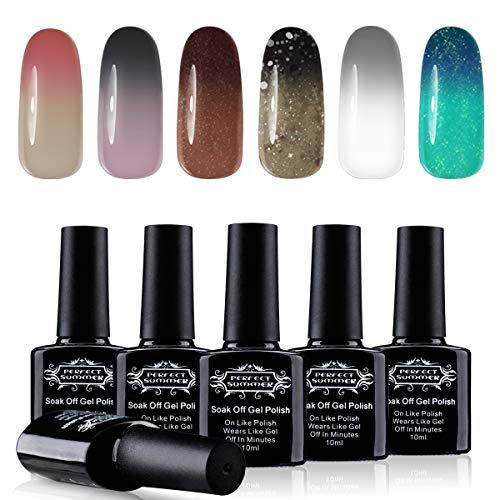 Perfect Summer Temperature Colors Change Gel Nail Polish - Chameleon Color Gel Polish Nail Art Design Gift,10ml Each 02