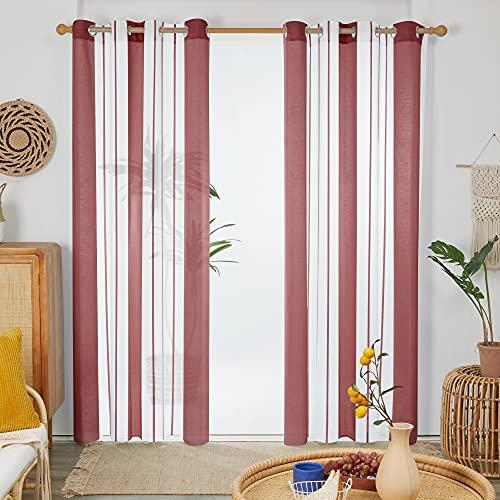 Deconovo Cortinas Translucidas, Rayas de Diseño Moderna, para Habitación Salón Casa, con Ollaos, 140x229cm(Ancho x Alto), Rojo, 2 Piezas