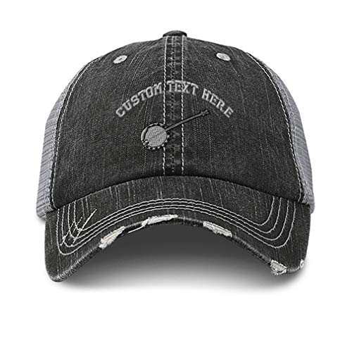 Custom Distressed Trucker Hat Banjo A Embroidery Cotton for Men & Women Strap Closure Black Gray Personalized Text Here