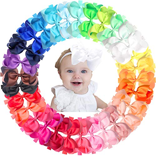 JOYOYO 30 Colors Baby Girl Headbands with 6in Hair Bows Newborn Bow Headbands Hair Bands for Girls Toddlers and Child