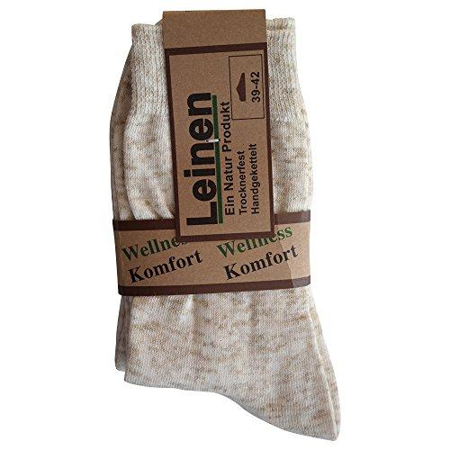 6 Paar Natur Leinen Baumwolle Socken ohne Naht, Natur, 39/42