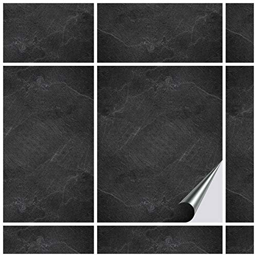 FoLIESEN Fliesenaufkleber 20x25 cm - Fliesen-Folie Bad - Klebefolie Küche - 20 Klebefliesen + Rakel, Black Slate - 20x25 cm