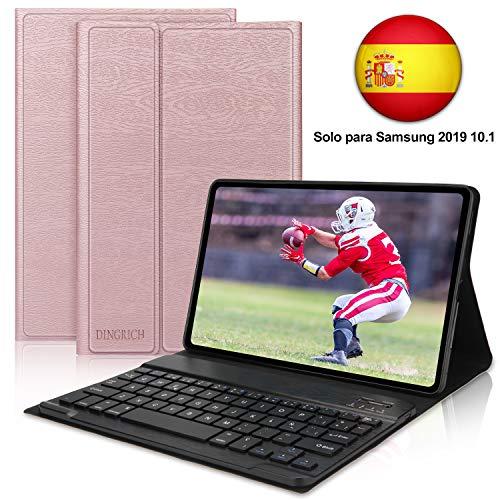 DINGRICH Funda Teclado Tablet Tab A 10.1 (T510 /T515(Oro Rosa sin retroiluminación))