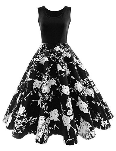 iShine elegante rockabilly jurk dames knielange V-hals 50s retro vintage plooirok mouwloos partyjurk cocktailjurk feestelijke jurk met bloemen split