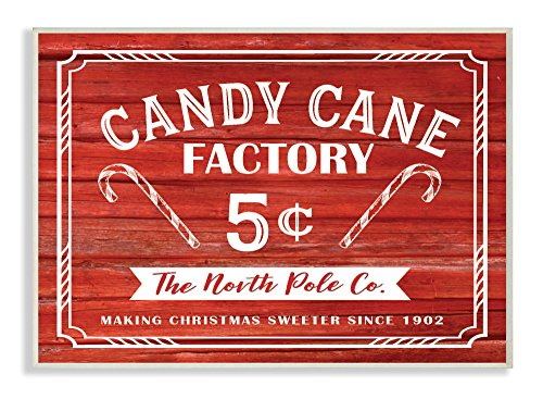 The Stupell Home Décor Collection Candy Cane Factory Vintage Sign Wall Plaque Art, 10' x 15'