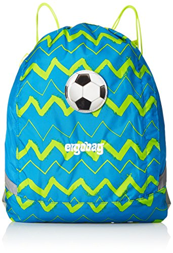 ERGOBAG cubo Sportspack 16 Turnbeutel, 45 cm, 11 L, Blue Green Zig zag