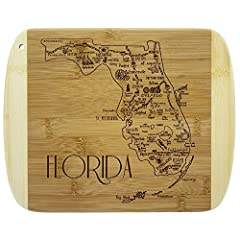 Savor a slice of The Sunshine State with this beautiful bamboo serving and cutting board with artwork inspired by the cities, places and people of Florida. Fun, whimsical laser-engraved artwork calls out all the wonderful sights and places in the sta...
