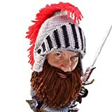 Beard Head Barbarian Knight - Original Handmade Knit Helmet and Removable Brown Beard