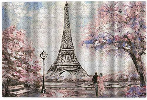 Rompecabezas para adultos y niños, 1000 piezas, 29.5 x 19.6 pulgadas (75 x 50 cm), Torre Eiffel rompecabezas sin marco