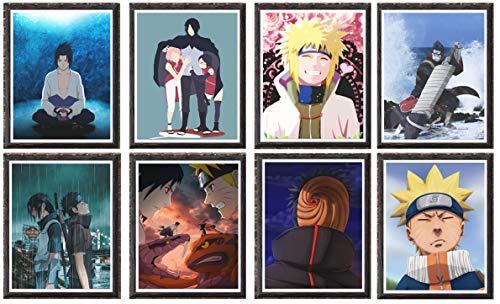 Itachi Minato Naruto Japanische Anime Charakter Bild Leinwand Poster Tapete, 20,3 x 25,4 cm, ohne Rahmen, 8 Stück