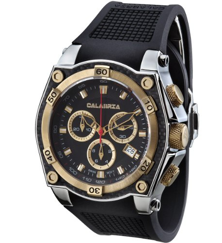 calabria tesoro gold two tone chronograph mens watch with carbon fiber bezel calabria stainless steel