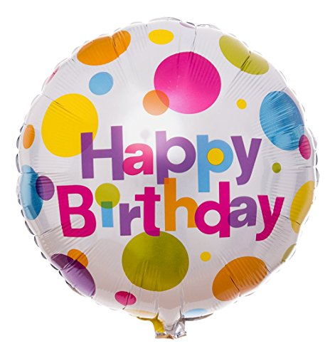 Ballongruesse - Gepunkteter Happy Birthday Ballon als Ballongruss heliumgefüllt im Überraschungskarton