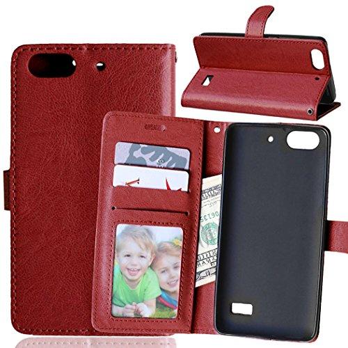 Telefono Caso per Huawei Honor 4C / G Play Mini,PU Custodia In Pelle 3 Carte Slot Credito Flip Cover Case Chiusura Magnetica-Marrone