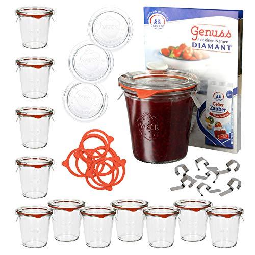 MamboCat 12er Set WECK Sturzgläser-Set 290 ml hoch I Glasdeckel, Einkochringe & -klammern I Klarglas I Recycling-Weckglas I Sturzform I 1/5 Liter hoch I Inkl. Rezeptheft